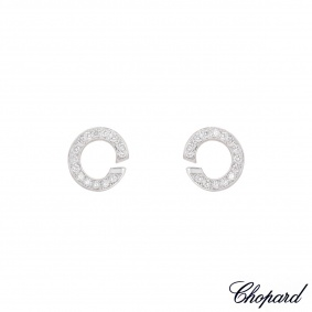 Chopard White Gold Diamond Hoop Earrings